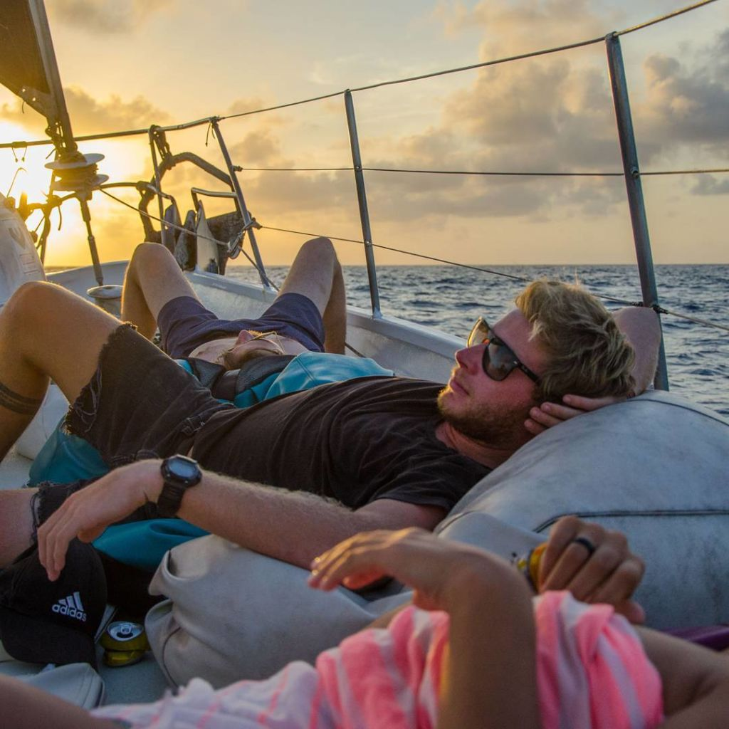 Chilling on deck while sailing Panama to Colombia